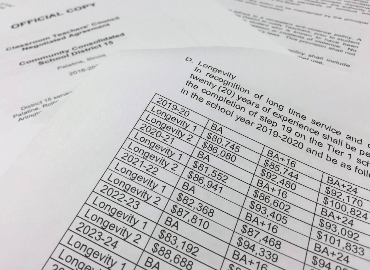 "One section of the 10-year teachers' contract, released last week by Palatine Township Elementary District 15, six weeks after it was approved ""in concept."""