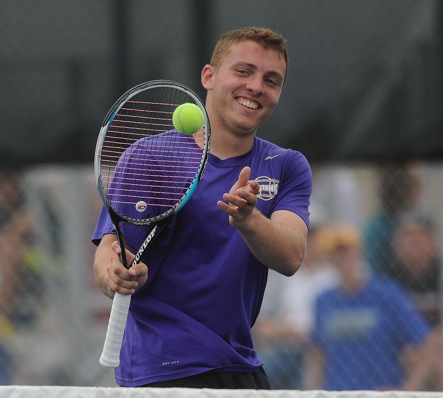 Rolling Meadows' Mack Galvin played with style but ended up falling to Deerfield's Vuk Budic during a marathon singles semifinals matchup at Hersey on Saturday.