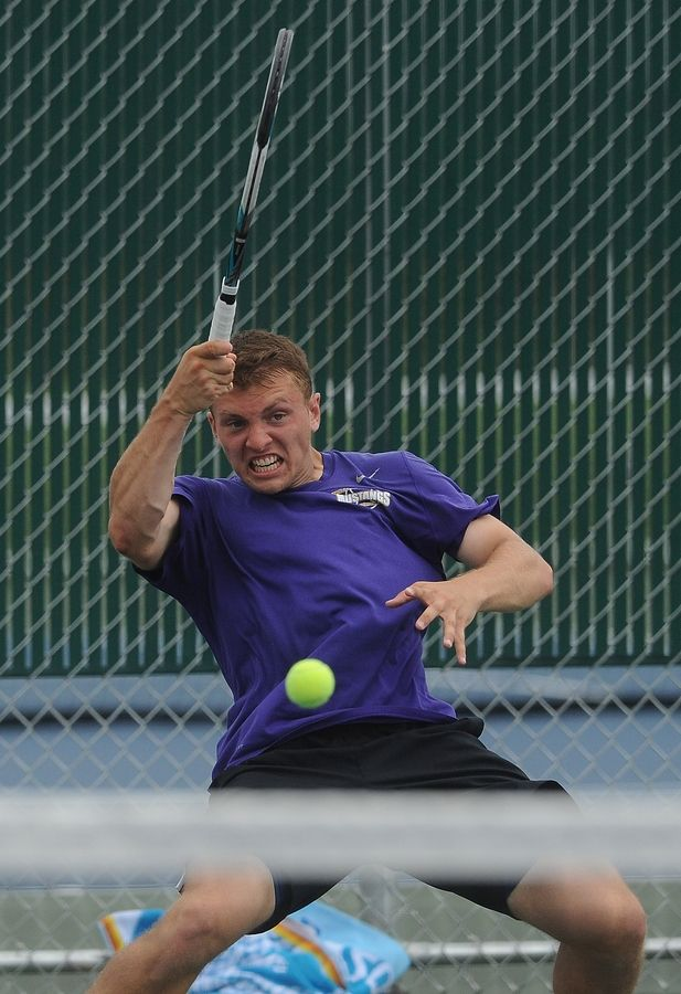 Mark Welsh/mwelsh@dailyherald.comRolling Meadows' Mack Galvin played with style and grace but ended up falling to Deerfield's Vuk Budic during a marathon singles semifinal matchup at Hersey on Saturday.