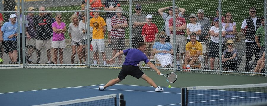 Rolling Meadows senior Mack Galvin played with style and grace but fell to Deerfield's Vuk Budic in a marathon singles semifinal matchup at Hersey on Saturday.