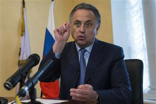 Russia's Sports Minister Vilaty Mutko gestures as he answers a journalist's questions, after their press tour of its anti doping laboratory in Moscow, Russia, Tuesday, May 24, 2016. The Russians have been accused of state-sponsored doping at the 2014 Sochi Olympics, and the IOC has asked WADA to carry out a full-fledged investigation and plans to retest Sochi samples. (AP Photo/Alexander Zemlianichenko)