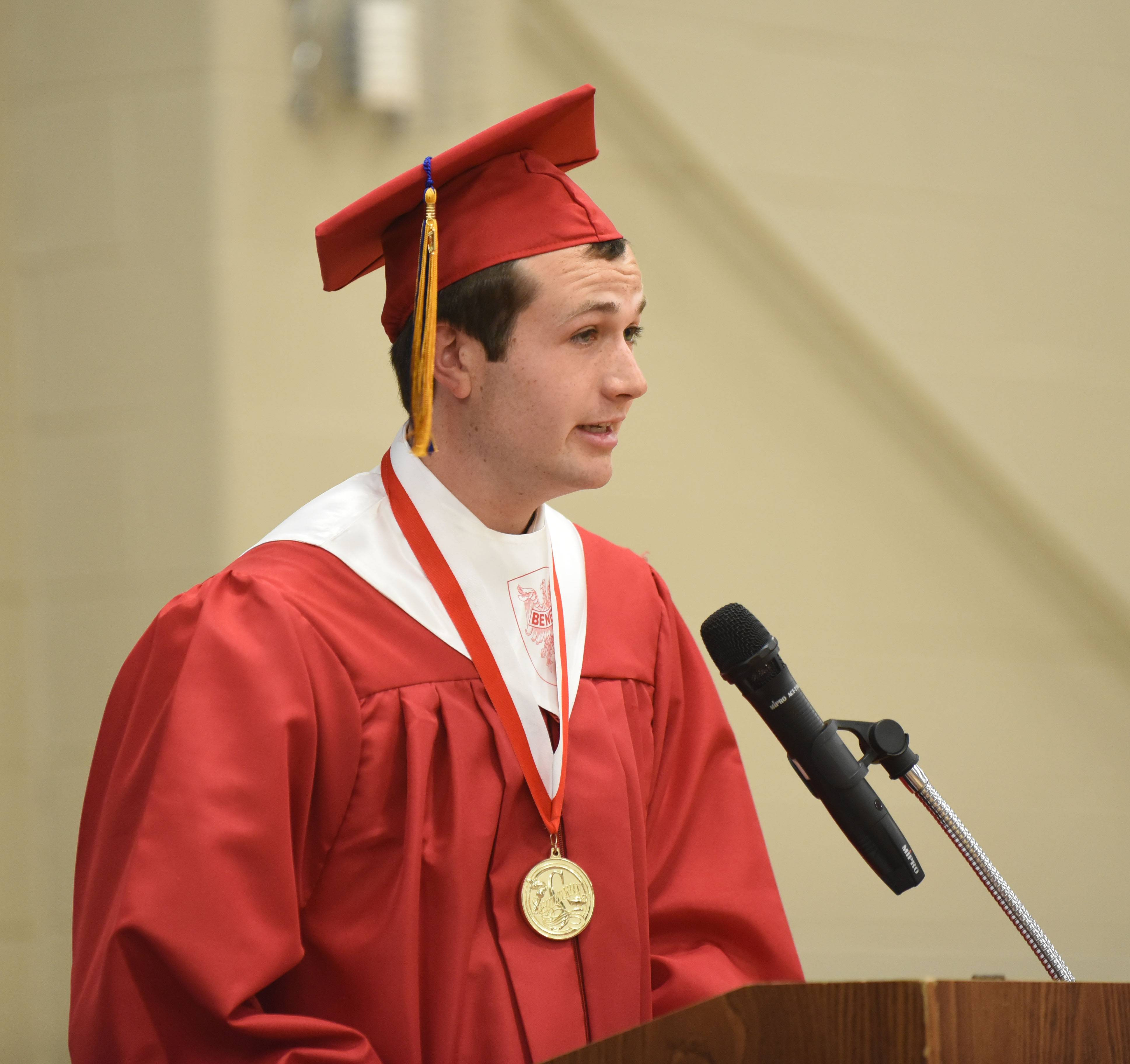 Salutatorian Declan McNamara gives his speech during the Benet Academy graduation ceremony Sunday.