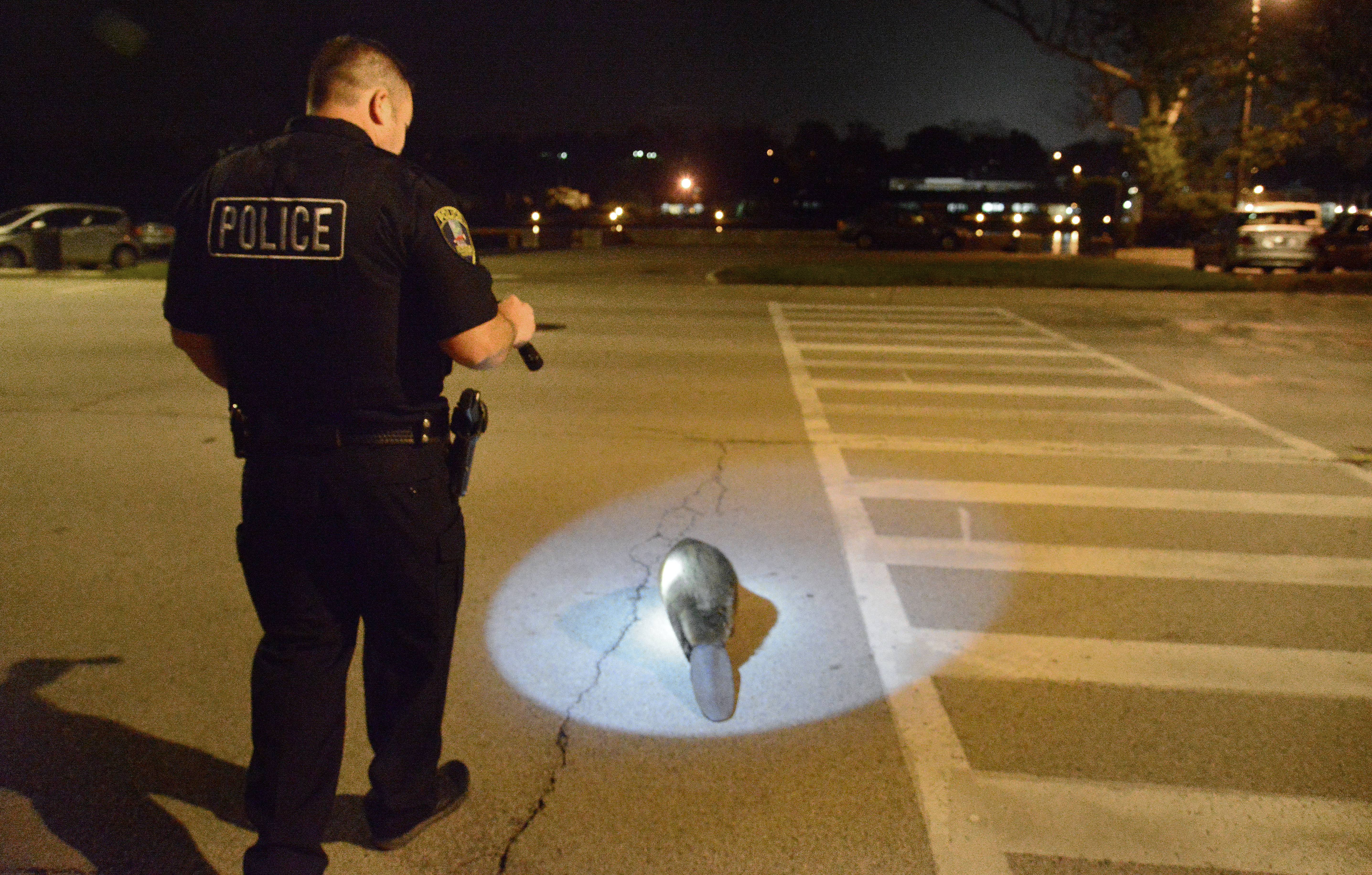 St. Charles Police Officer Charles Crumlett escorts a wild beaver across Route 31 back to the Fox River in downtown St. Charles after it was found walking westbound past the bars on Main Street late one night in April. I was on the way home from work when I saw it walking past the bars with crowds of people around it, so I quickly went around the block and parked, where the police were already on the scene. In all my years out here, I have never seen this before! However, Crumlett says it happens a few times a year and the police are called to help the critters back to the river. (He's had this particular assignment before. Some animals they even recognize.) This guy took his sweet time, stopping frequently to dine on greenery along the bank of the river over the course of about a half hour before dipping back into the water. This photo was published in the Perspective column in the print edition of the Daily Herald.