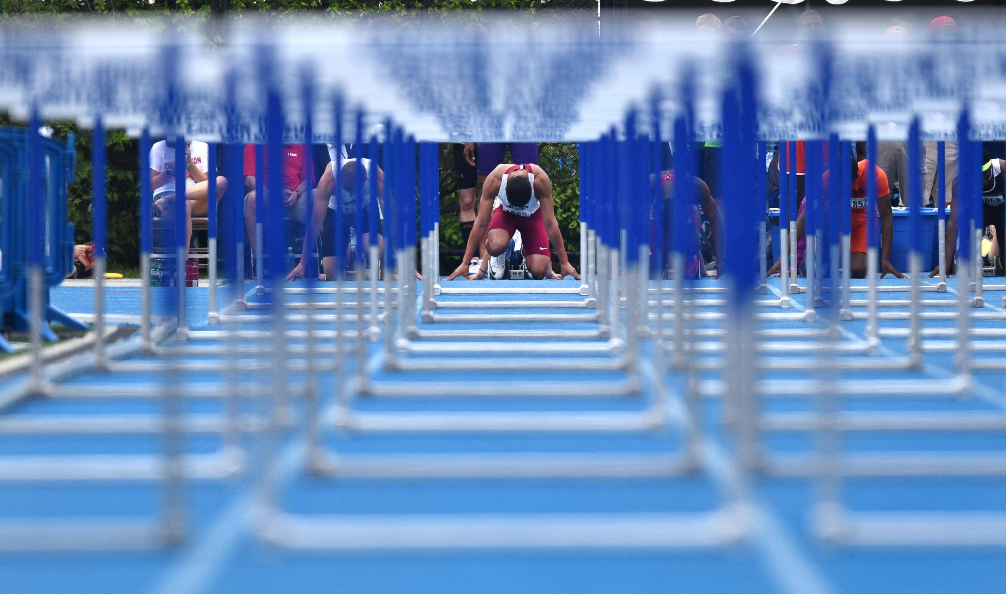 Antioch's Landon Keefover gets set on the starting line for the 110-meter high hurdles in Class 2A Saturday at the boys track state finals in O'Brien Stadium at Eastern Illinois University in Charleston.