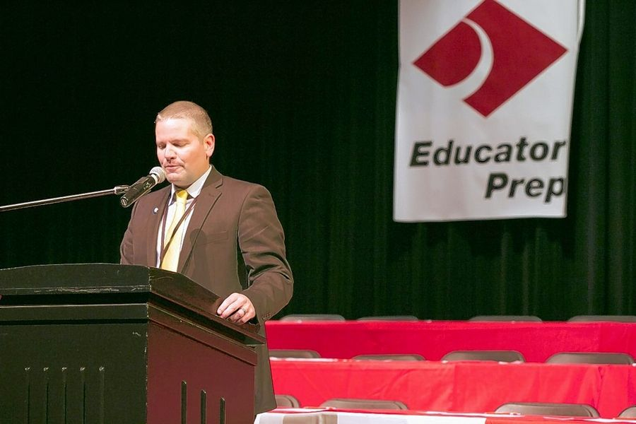 Superintendent David Schuler introduces Educator Prep, a new District 214 program aimed at recruiting and supporting future teachers.