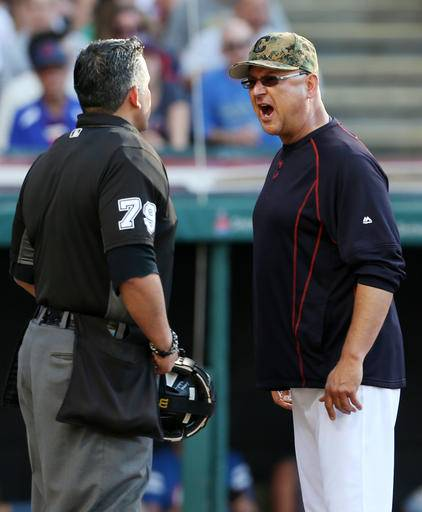 Cleveland Indians manager Terry Francona, right, yells at home plate umpire Manny Gonzalez after being ejected during the third inning of a baseball game Monday, May 30, 2016, in Cleveland. (AP Photo/Ron Schwane)