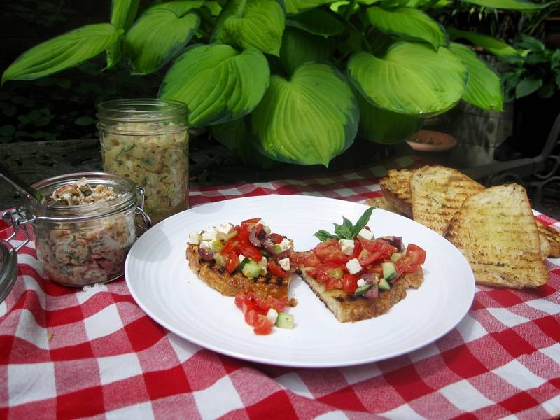 ... and fresh herbs and bound with sour cream; and a chopped Greek salad