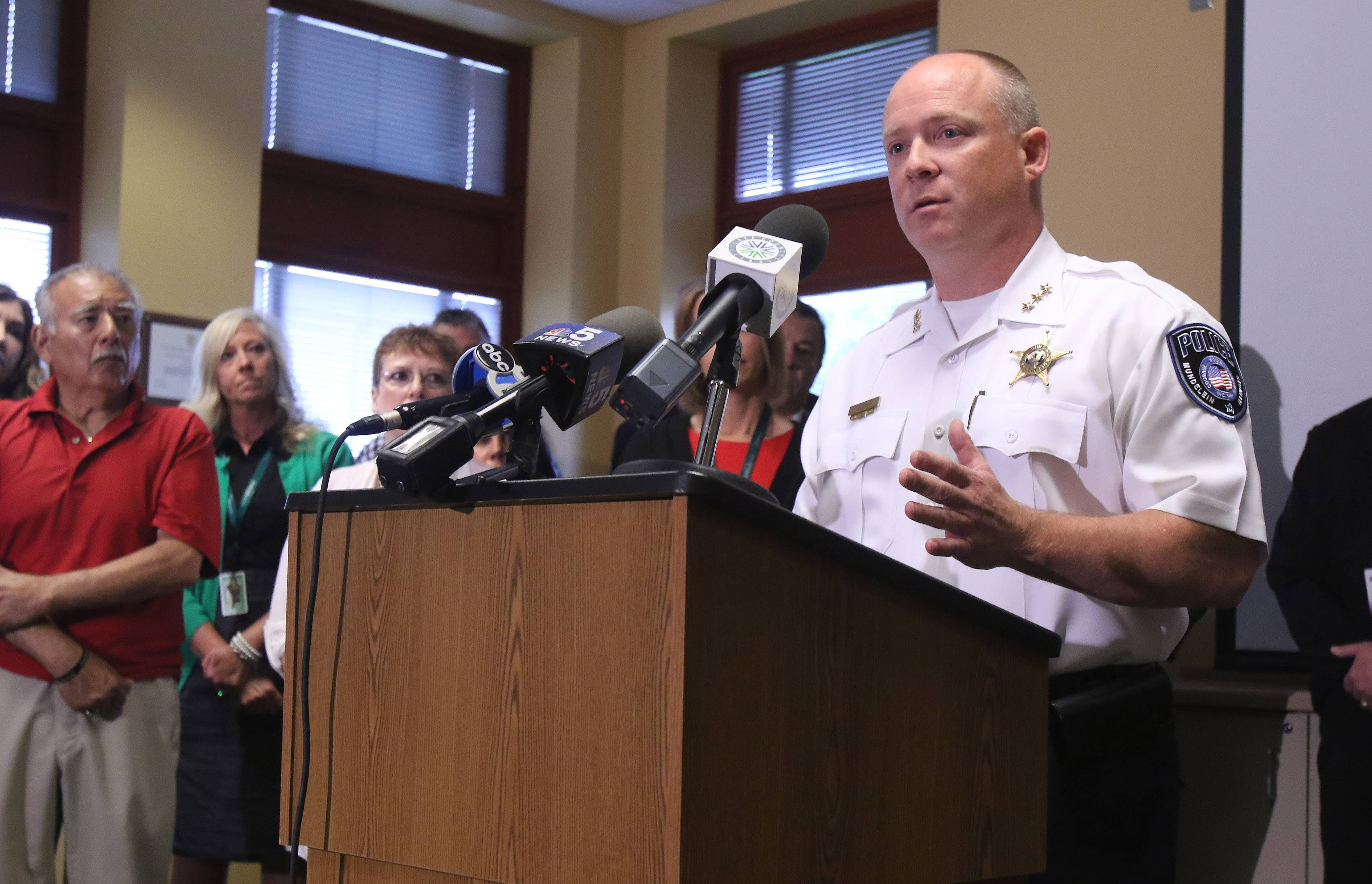"Mundelein Public Safety Director Eric Guenther discussed a new program called ""A Way Out"" during a news conference Wednesday at Gurnee police headquarters. The program will allow drug addicts to seek treatment without risk of arrest if they go to a participating police department."