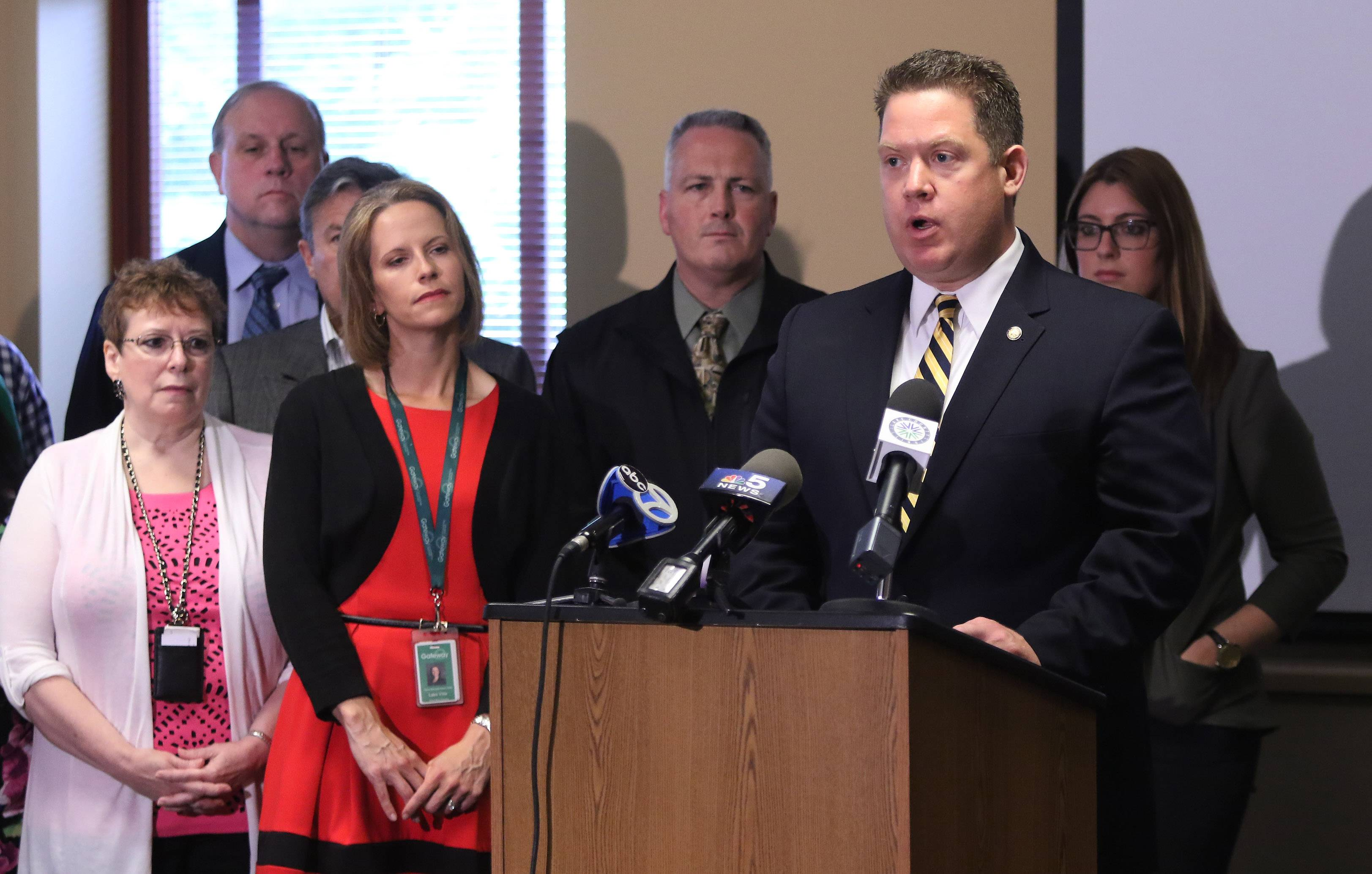 Lake County State's Attorney Michael Nerheim was at a news conference Wednesday in Gurnee to announce a program that will allow drug addicts to seek treatment without risk of arrest if they go to a participating police department.