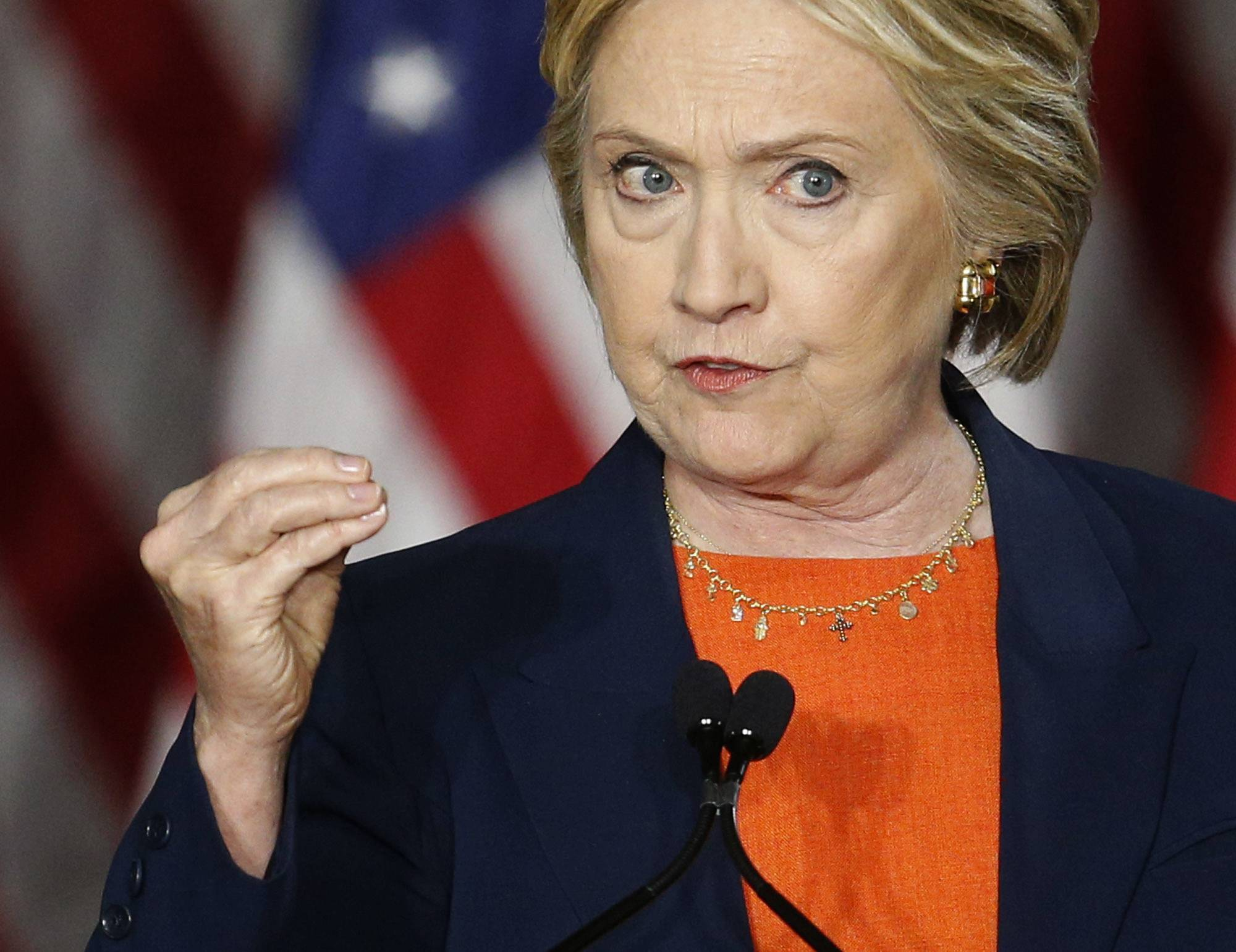 Democratic presidential candidate Hillary Clinton gives an address on national security Thursday in San Diego, Calif.