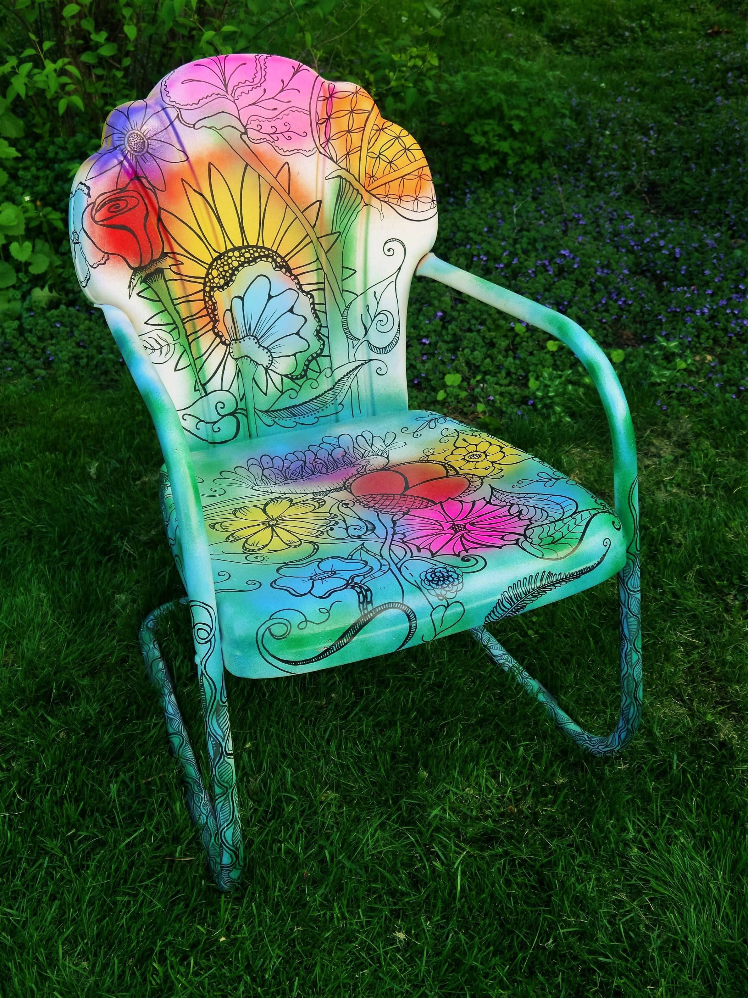This is one of 20 artist-decorated chairs that can be seen in downtown Naperville. The chairs will be auctioned at a fundraiser for Bridge Communities.