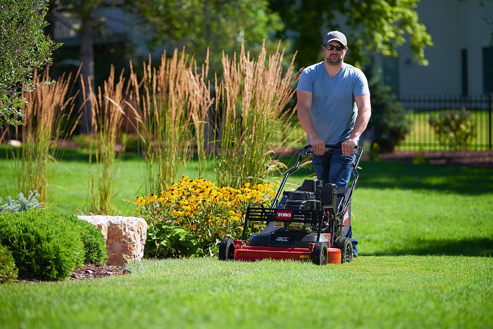 Toro's self-propelled mower offer easier maneuverability and are up to 30-inches wide.