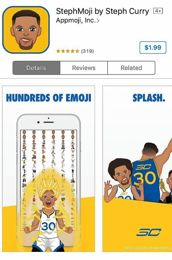 new product cecde 8d1bb The  1.99 Stephmoji keyboard features the NBA s Steph Curry in a variety of  poses, including