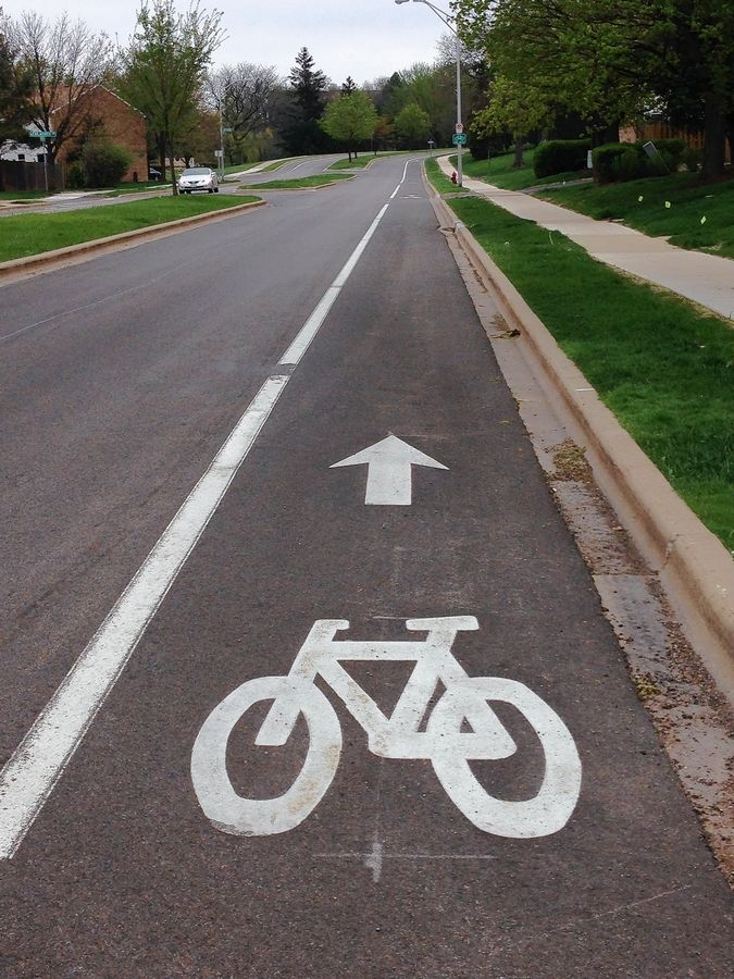 Hoffman Estates has been working on adding bike lanes and trails, including this lane on Kensington Avenue.