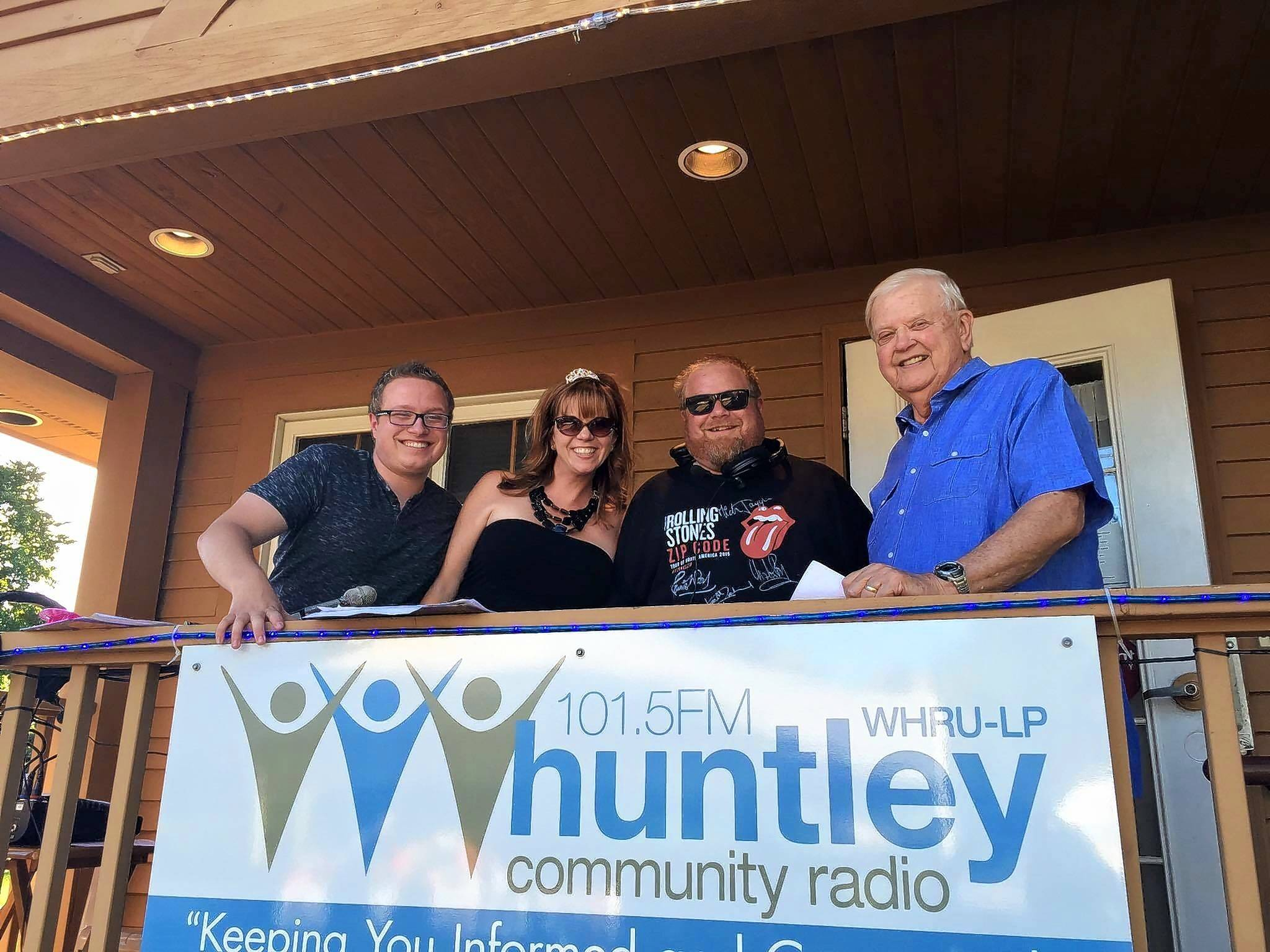 "From left, Michael Geheren, ""The Duchess"" Kate Curtin, Sir William Geheren and Orion Samuelson join in the Huntley Community Radio Radiothon 2, a fundraiser for the nonprofit station."