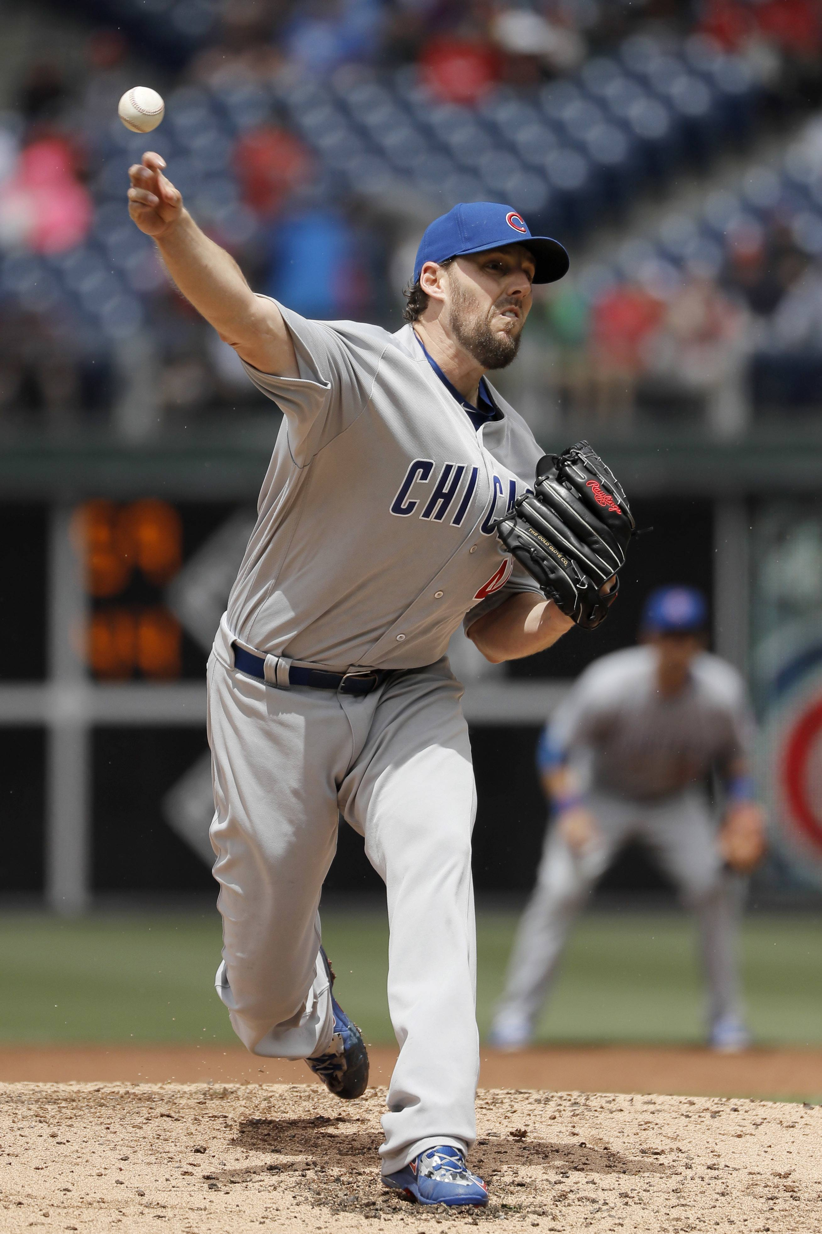 Chicago Cubs' John Lackey pitches during the third inning of a baseball game against the Philadelphia Phillies, Wednesday, June 8, 2016, in Philadelphia. (AP Photo/Matt Slocum)