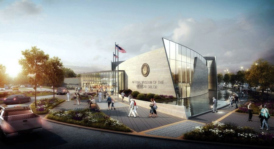 This is a rendering of proposed $40 million National Museum of the American Sailor near the Great Lakes Naval Station in North Chicago. Fundraising has begun for the facility
