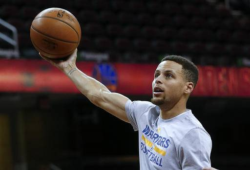 3906bafb3 Golden State Warriors guard Stephen Curry shoots during practice for Game 4  of basketball s NBA Finals