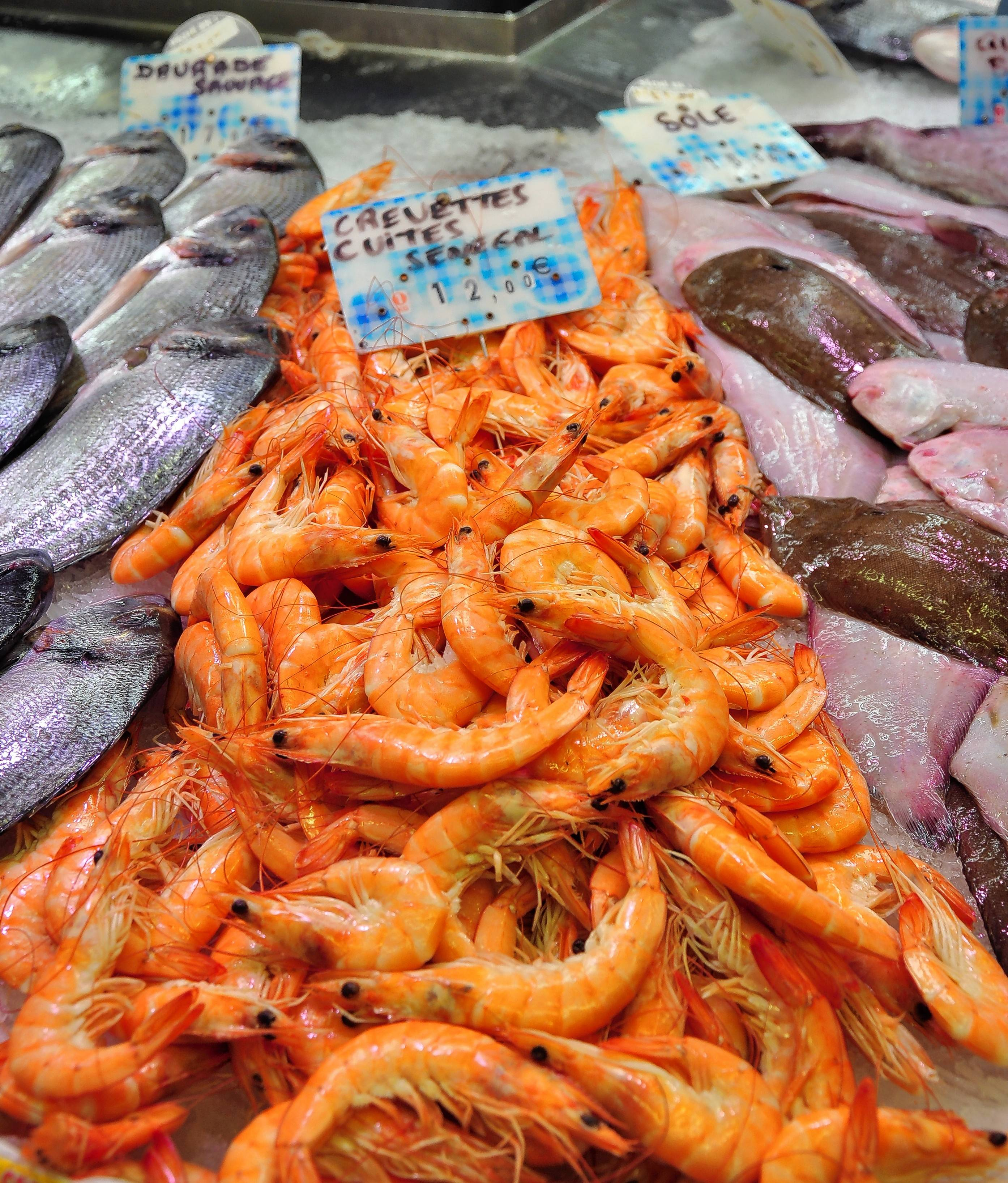 Shrimp is one of the seafood varieties on display at the market in Sète.