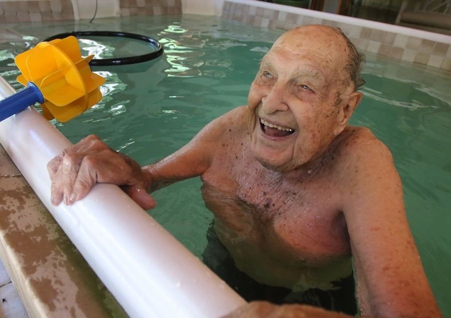 Water always brings a smile to the face of former Olympic champion Adolph Kiefer, who swims every morning at his home in Wadsworth. The 97-year-old U.S. swimmer and world-record holder won the gold medal in the backstroke in the 1936 Olympics and met Adolf Hitler.