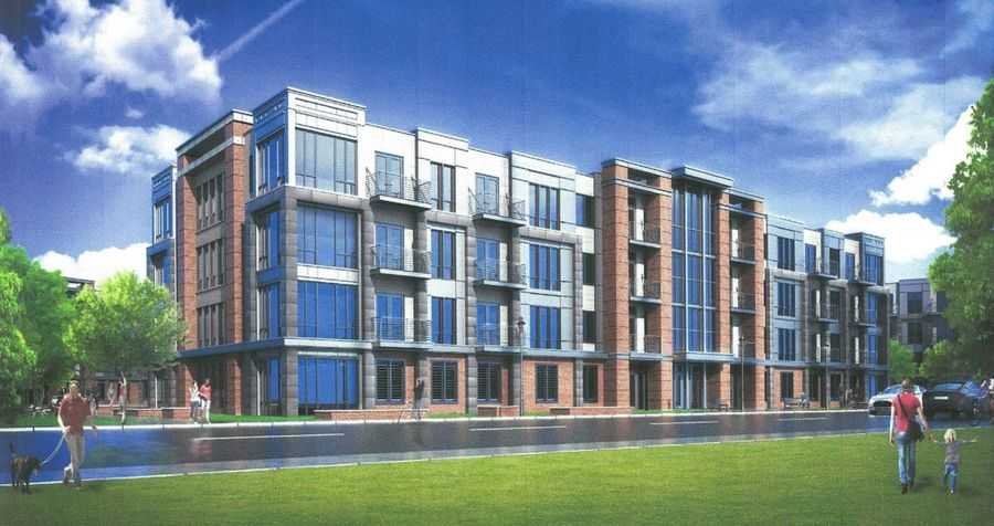 One of the seven apartment buildings designed by UrbanStreet Group LLC for the planned Plum Farms mixed-use development on 185 acres at the northwest corner of routes 59 and 72 in Hoffman Estates.