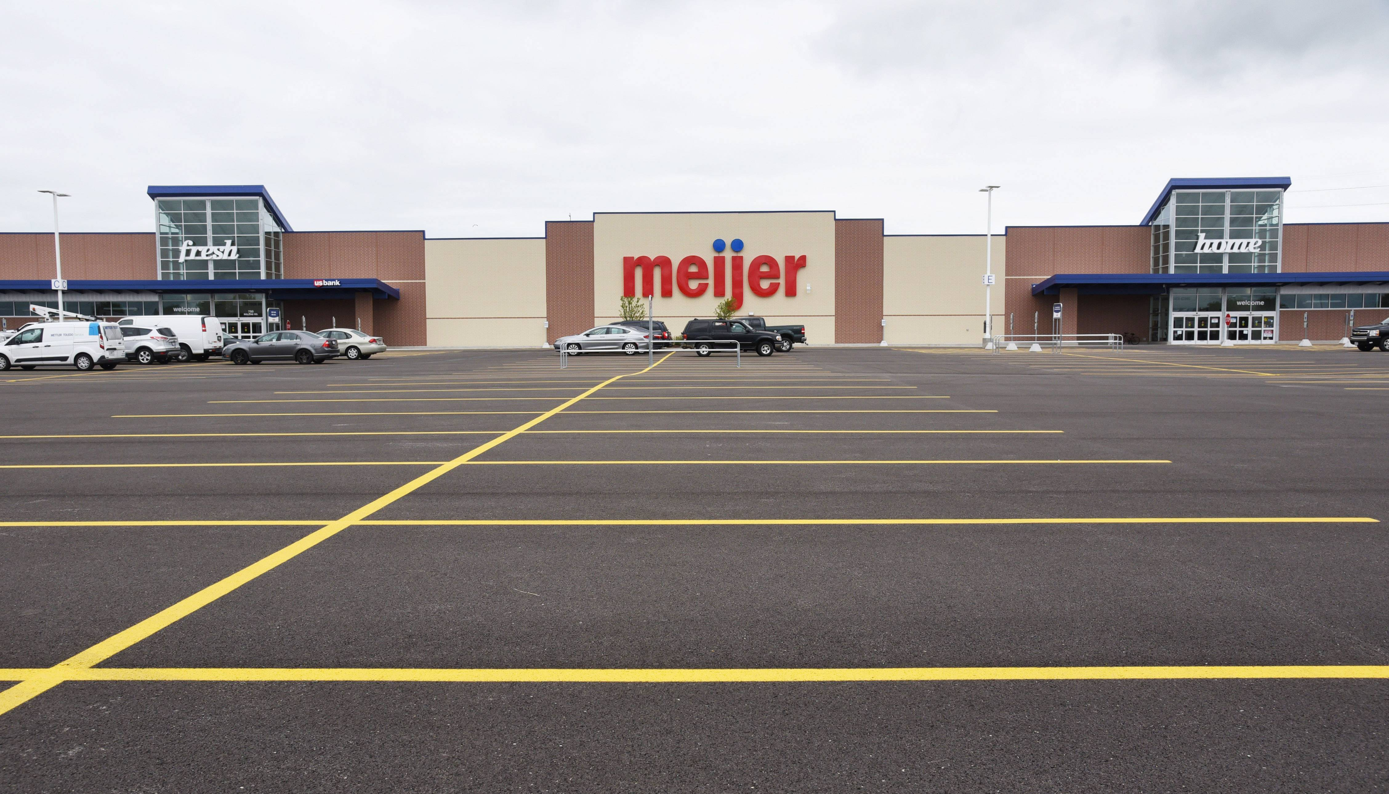 Parking spots are striped and ready for customers for next week's opening of the new Meijer in Round Lake Beach.