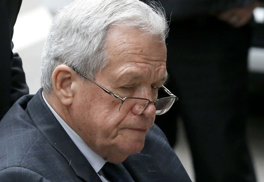 Former House Speaker Dennis Hastert leaves the federal courthouse in Chicago following his sentencing in April on federal banking charges.