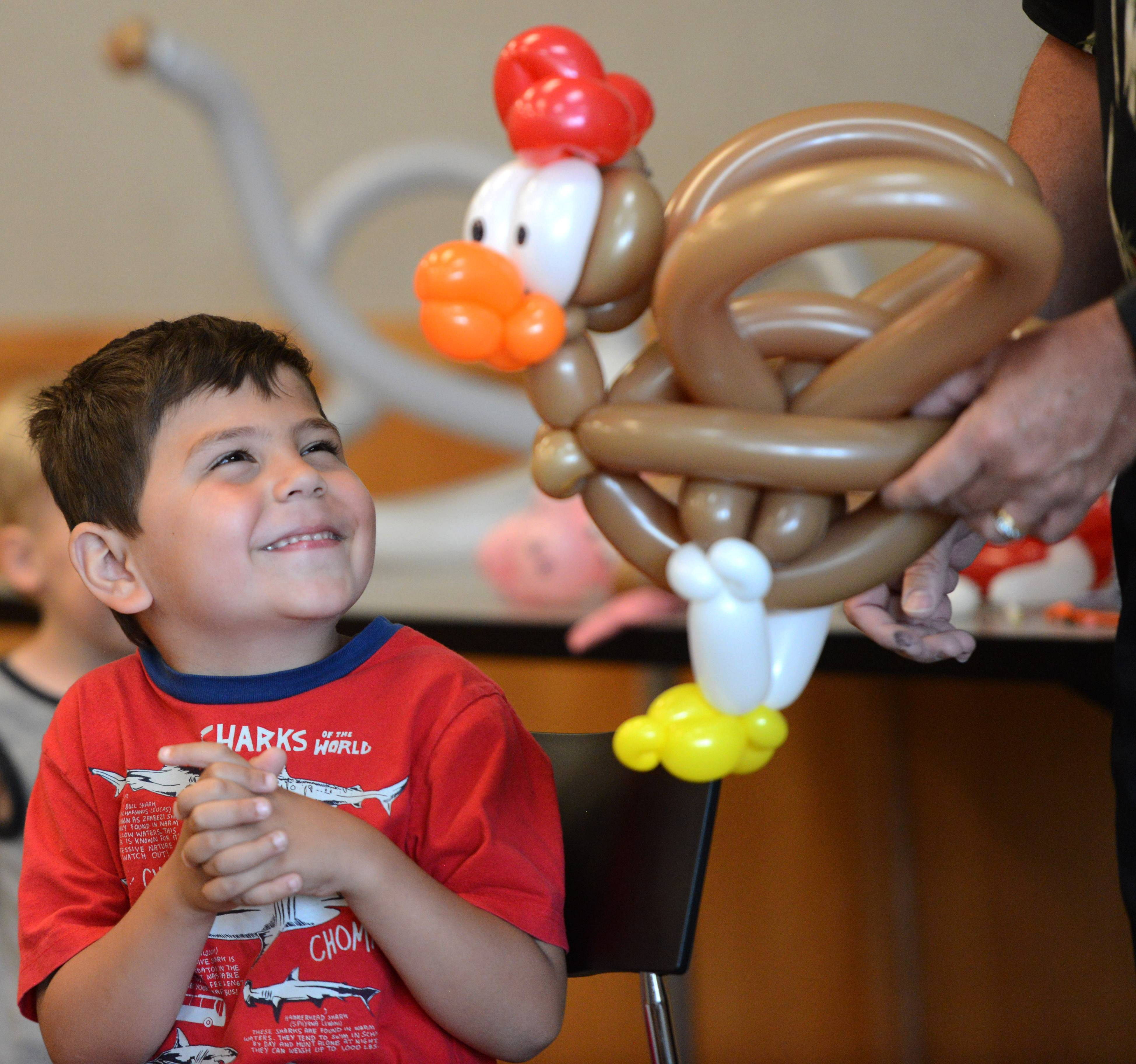Luke Kohl, 5, of Lake Zurich beams as balloon artist Dale Obrochta shows him the rooster he created Monday during Obrochta's improvisational balloon show at the Ela Area Public Library in Lake Zurich.