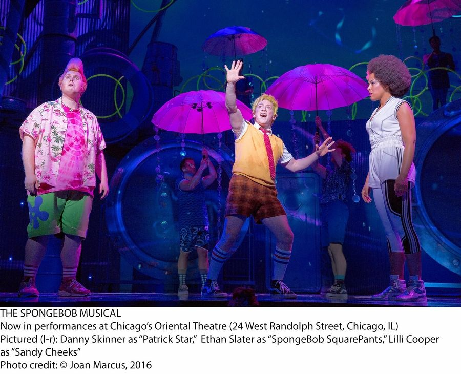 "SpongeBob (Ethan Slater, center) convinces pals Patrick (Danny Skinner, left) and Sandy (Lilli Cooper) to save their Bikini Bottom home in ""The SpongeBob Musical,"" in its world premiere at the Oriental Theatre in Chicago."