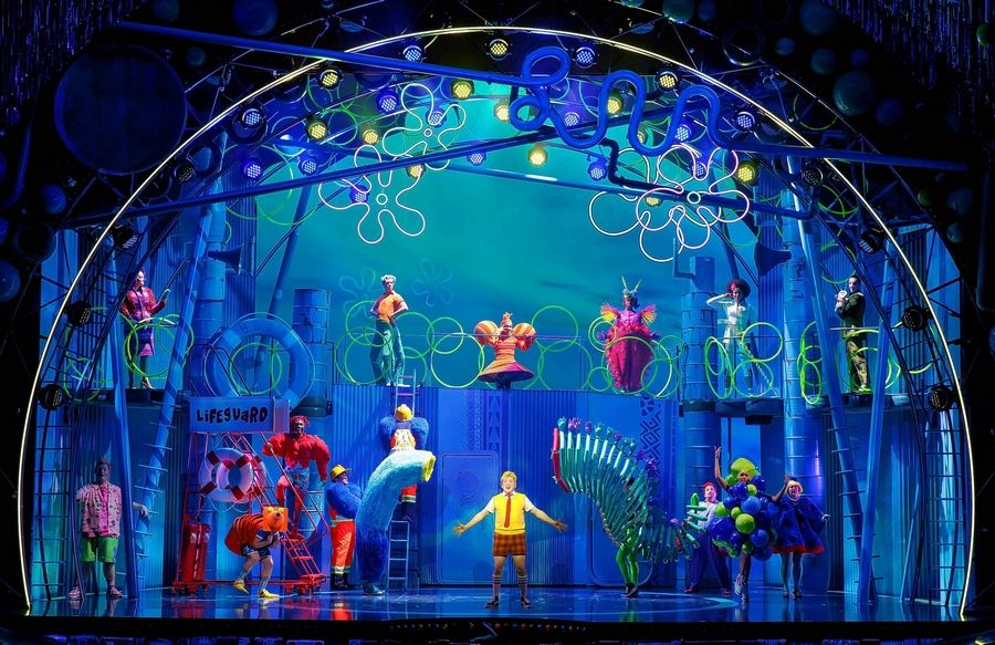 "The ever-optimistic SpongeBob SquarePants (Ethan Slater, center) celebrates a new day in Bikini Bottom in the Broadway-bound ""The SpongeBob Musical"" in its world premiere directed by Steppenwolf Theatre's Tina Landau."