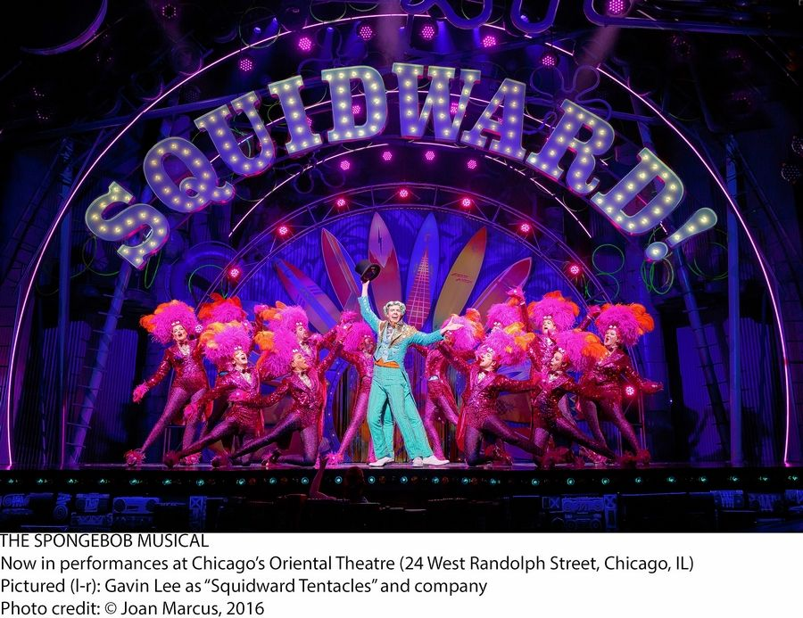 "Squidward Tentacles (Gavin Lee, center) makes the most of his moment in the spotlight in ""The SpongeBob Musical"" in its world premiere at the Oriental Theatre in Chicago."