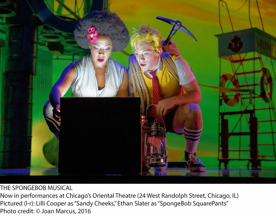 "Sandy Cheeks (Lilli Cooper, right) shows SpongeBob (Ethan Slater) the solution she's devised for Bikini Bottom's volcano problem in the Broadway-bound ""The SpongeBob Musical"" by writer Kyle Jarrow with music by Sara Bareilles, The Flaming Lips, John Legend, Panic! At the Disco, The Plain White T's and others."