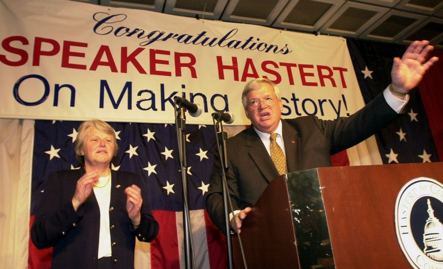 Former U.S. House Speaker Dennis Hastert during happier times, thanking supporters at an election victory party. Hastert is scheduled to report to prison Wednesday to begin a 15-month sentence, becoming the highest-ranking federal official to spend time behind bars.