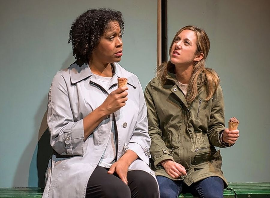"Deerfield native Amy Rubenstein, right, plays Jane in Windy City Playhouse's production of ""This,"" directed by Western Springs native Carl Menninger. Tania Richard, left, also stars."