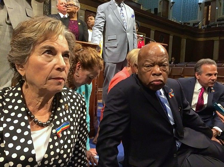 U.S. Rep. Jan Schakowsky of Evanston with U.S. Rep. John Lewis and dozens of other House Democrats who staged a sit-in on the chamber floor Wednesday to call for a vote on gun control legislation.