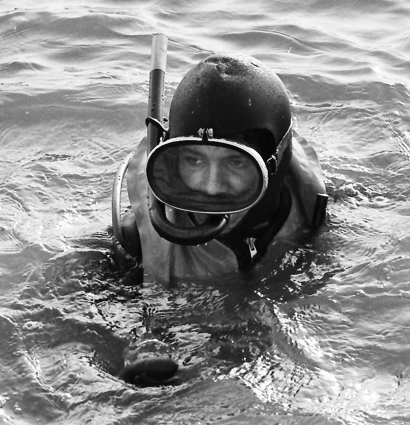 A Mount Prospect Fire Department firefighter swims in the water during scuba diving exercises in August of 1972.