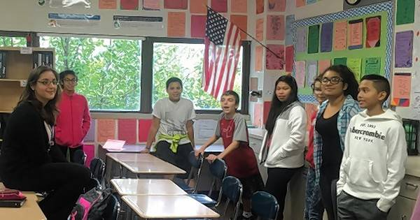 Eleni Vrettos teaches seventh-graders at Spring Wood Middle School in Hanover Park and draws on her experience writing an award-winning essay on naming the CTA's Pink Line.