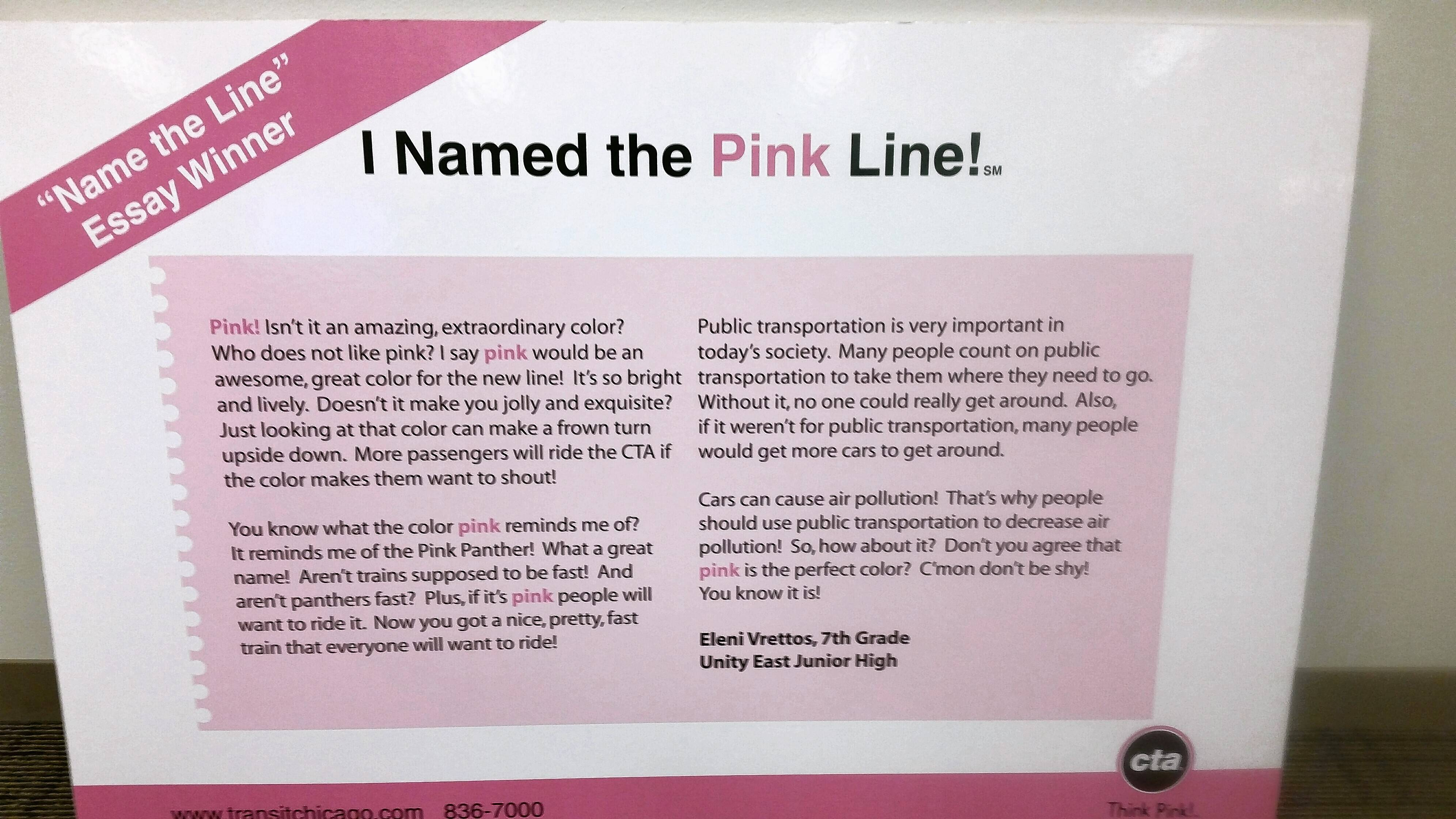 Eleni Vrettos wrote this award-winning essay on naming the CTA's Pink Line in 2006.