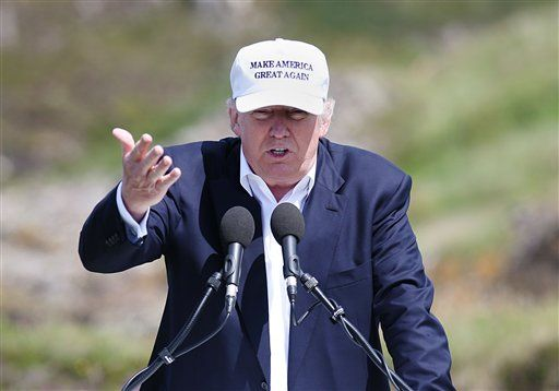 "The presumptive Republican presidential nominee Donald Trump makes a speech at his revamped Trump Turnberry golf course in Turnberry Scotland Friday June 24, 2016. Trump, in Scotland the day after the United Kingdom voted to leave the European Union, saluted the decision, saying the nation's citizens ""took back their country.""   (Andrew Milligan/PA via AP) UNITED KINGDOM OUT"
