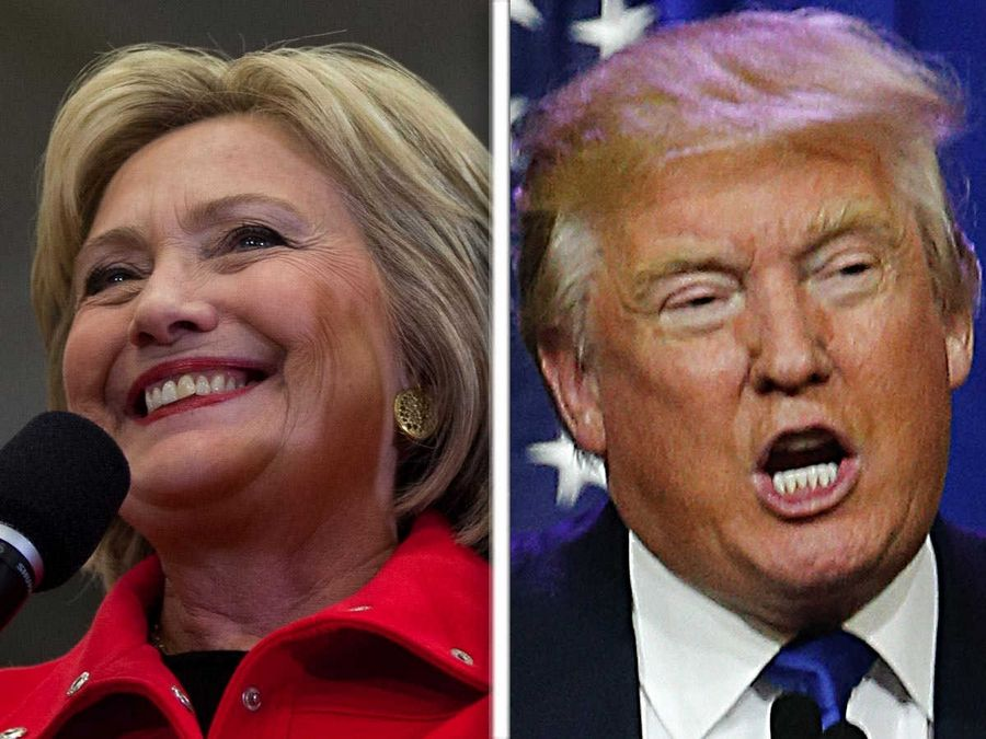 Democrat Hillary Clinton, left, far outpaced Republican Donald Trump in fundraising in Illinois.