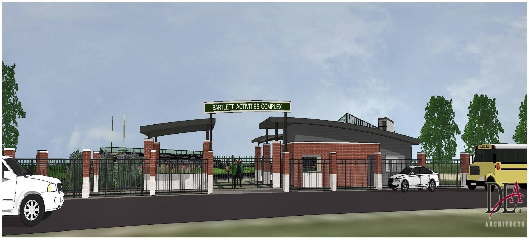 This is a sketch of the proposed Bartlett High School Activities Complex.