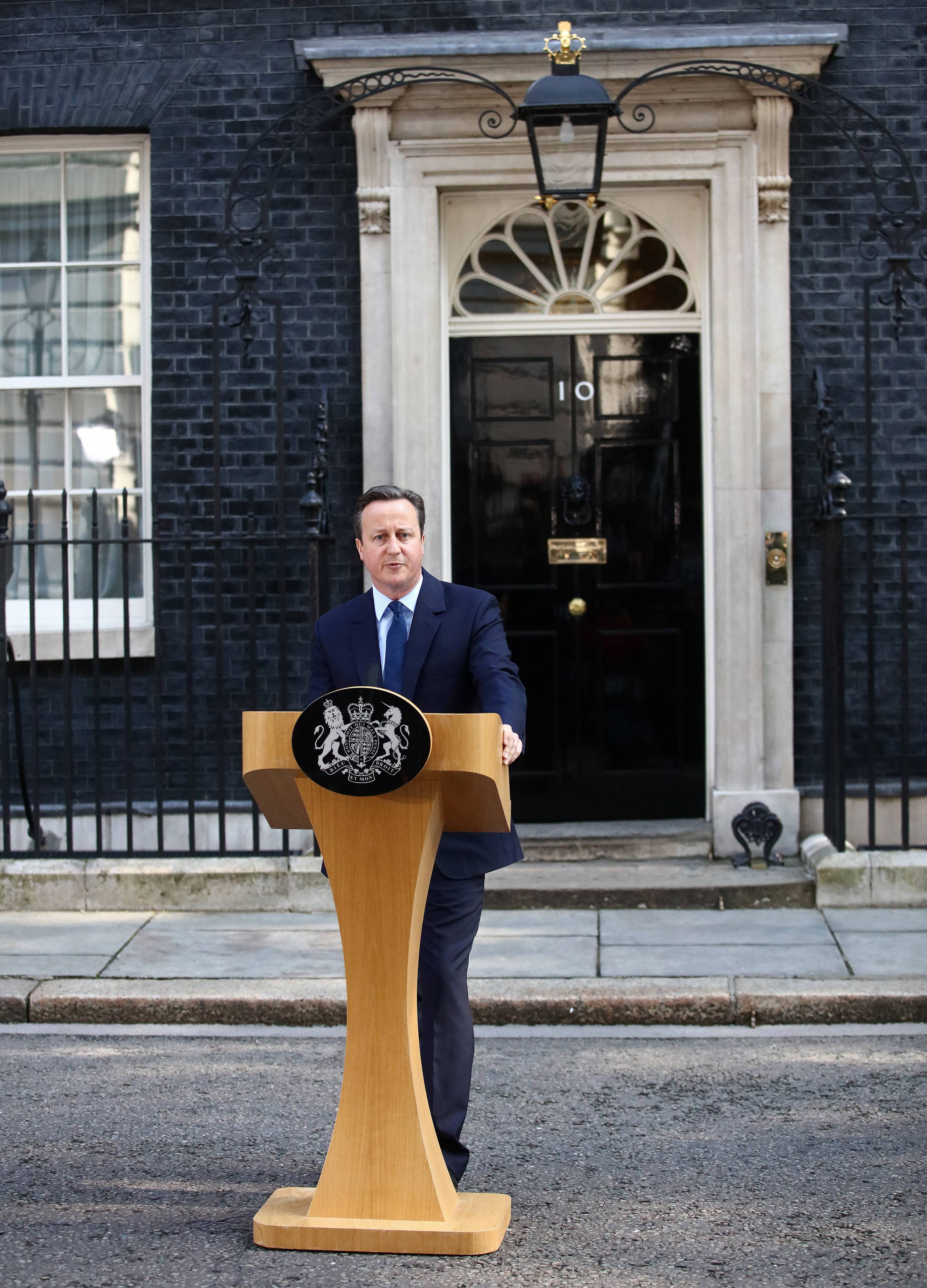 David Cameron, U.K. prime minister and leader of the Conservative Party, makes his resignation speech Friday.