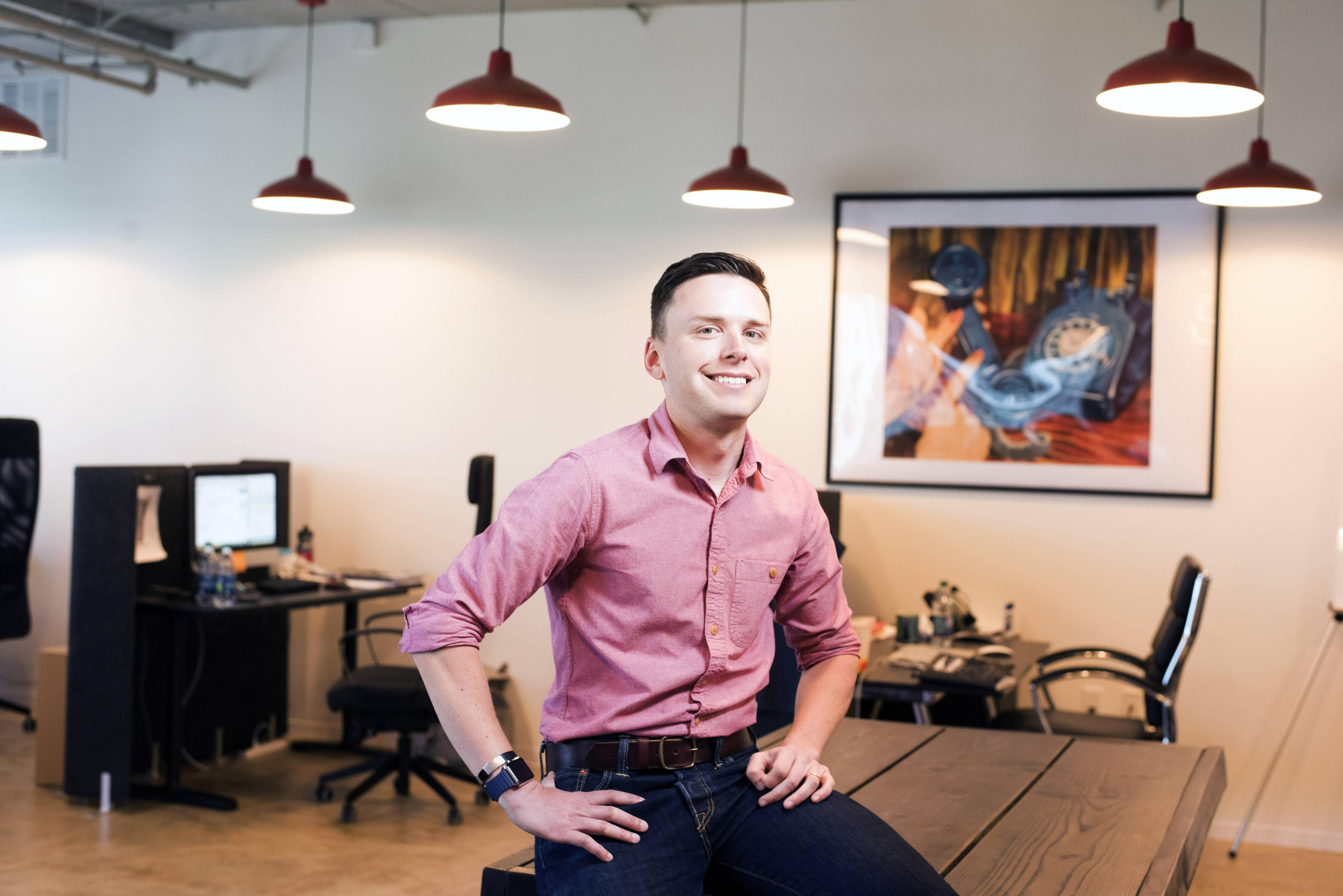 Myke Nahorniak, in the offices of Localist in Silver Spring, Maryland, created specialized calendar software that has found favor with universities and other institutions.