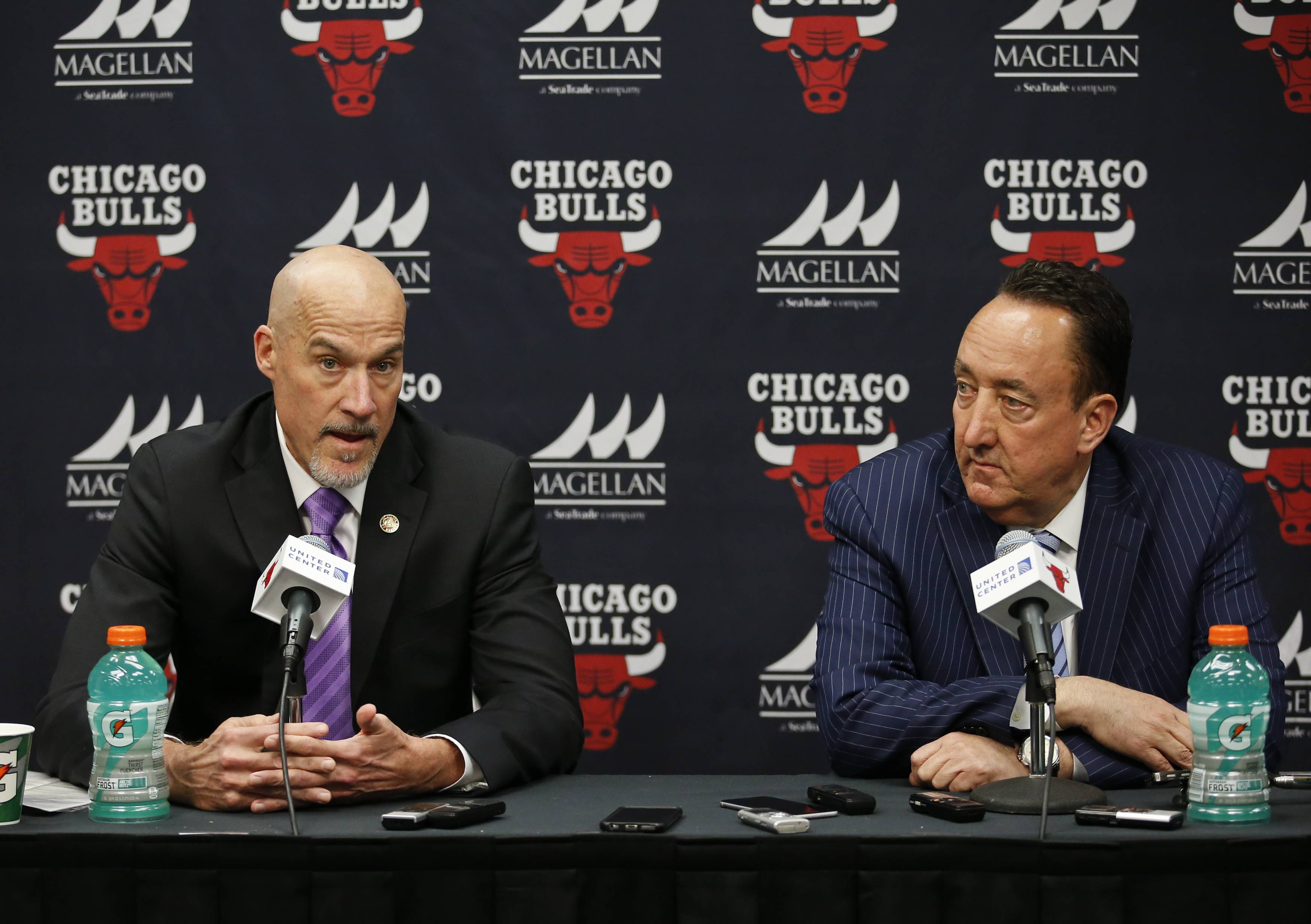 Recent developments might finally signal a new direction for the Chicago Bulls under executive vice president of basketball operations John Paxson, left, and general manager Gar Forman.