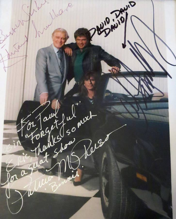 Schaumburg police officer Eric Wang's autographed photo from the Knight Rider television series.