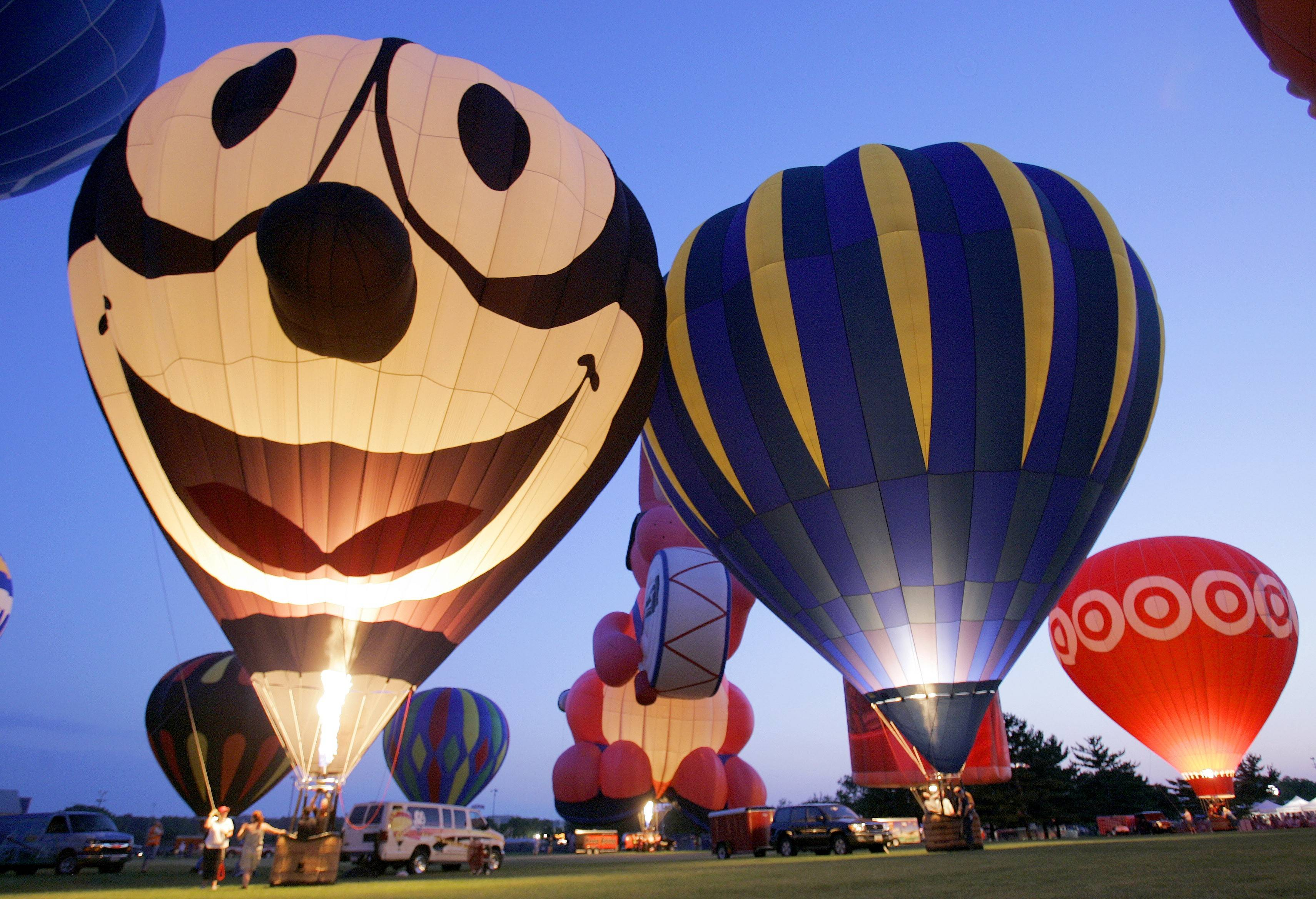Pilots will inflate and light their balloons during the nightly balloon glows at the Eyes to the Skies festival, running Friday to Sunday, July 1 to 3, in Lisle's Community Park.
