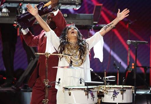 Sheila E. performs a tribute to Prince at the BET Awards at the Microsoft Theater on Sunday, June 26, in Los Angeles.