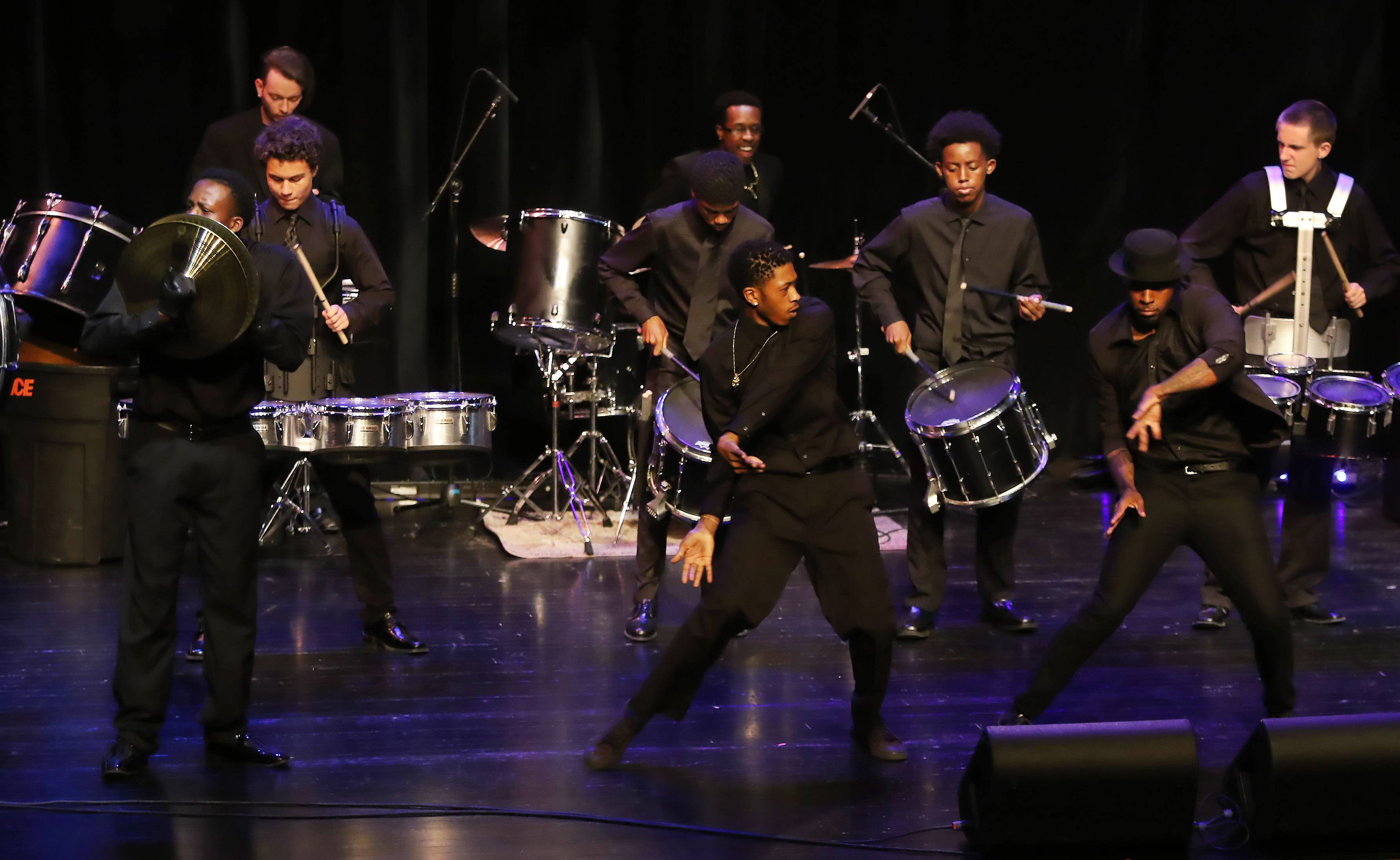 The Pack Drumline performs during the Suburban Chicago's Got Talent competition at the Prairie Center for the Arts in Schaumburg. The winner of the final contest wins a STARter kit worth $5,000 with a chance to be an opening act at the Arcada Theatre.