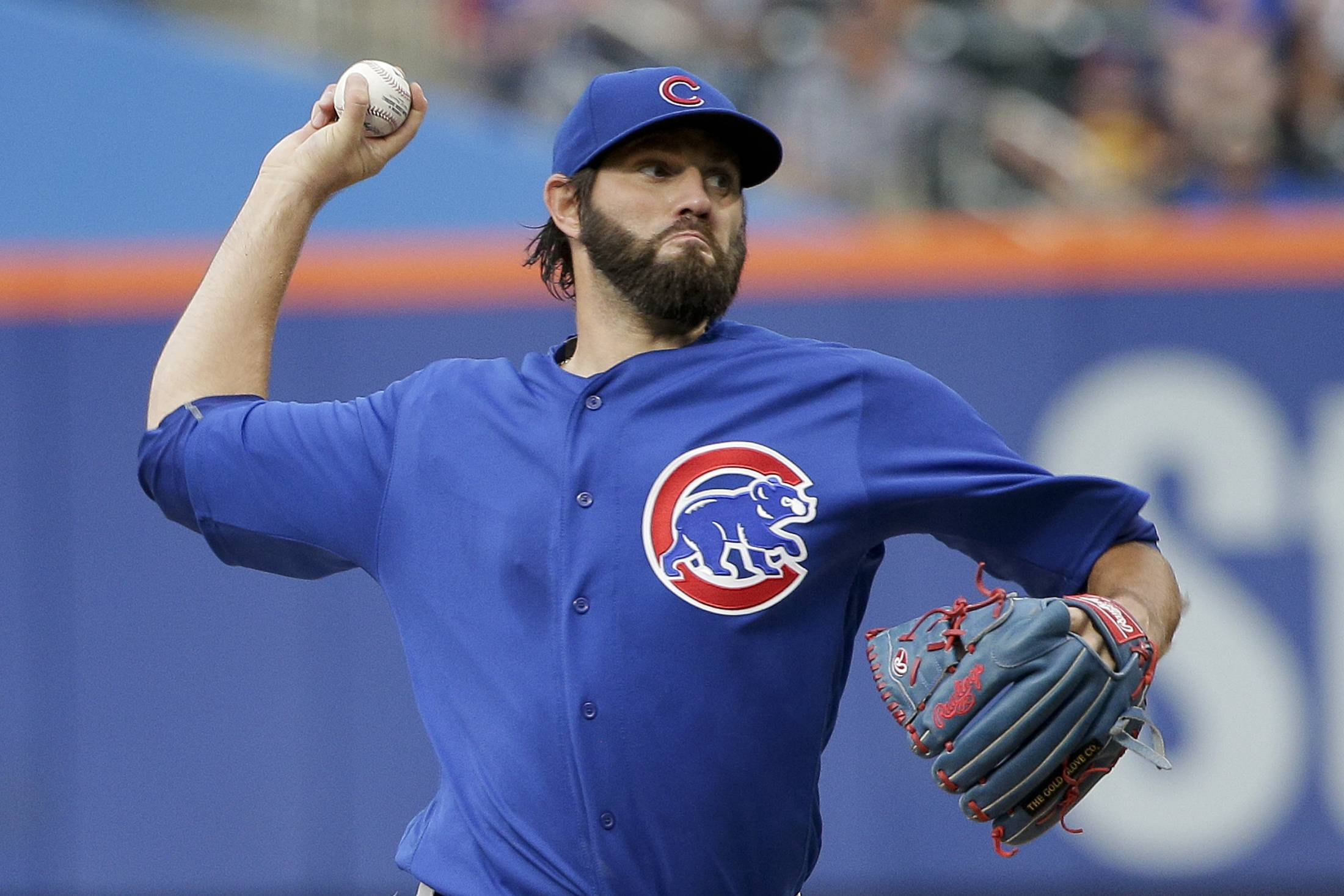 Chicago Cubs starting pitcher Jason Hammel delivers against the New York Mets during the first inning of a baseball game Friday, July 1, 2016, in New York. (AP Photo/Julie Jacobson)