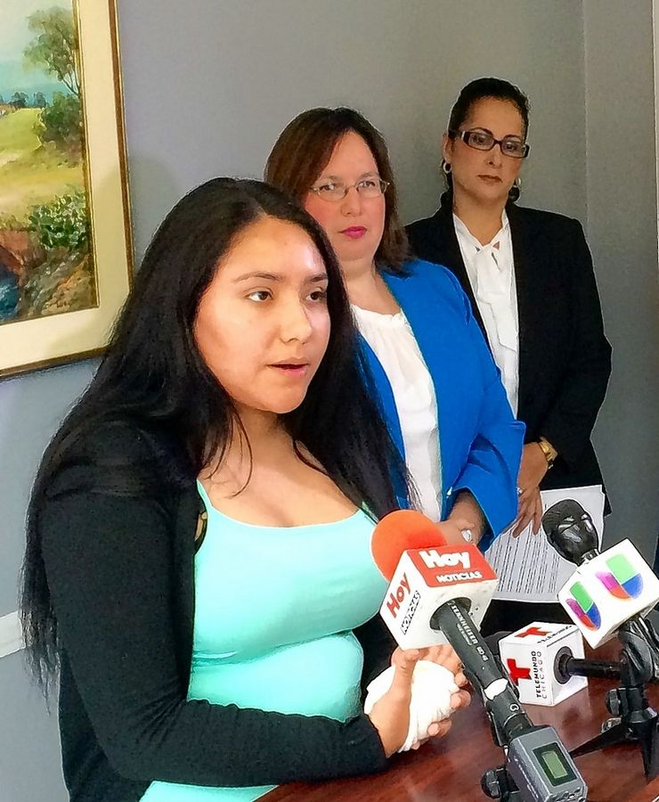 In a press conference in May railing against Illinois' lack of funding for social services, Jannet Alvarado of Elgin spoke on behalf of the Latino Treatment Center in Elgin, which cut its staff in half and eliminated some services. Next to her are Kane County Board member Cristina Castro, a candidate for Illinois Senate, and Adriana Trino, executive director of the Latino Treatment Center.